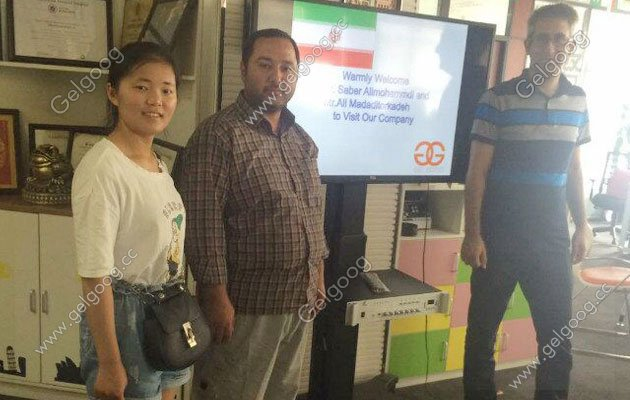 Iranian customers visit us for pizza cone making machine