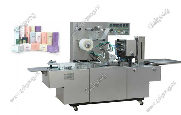 machine wrapping cosmatic  box with cellophane