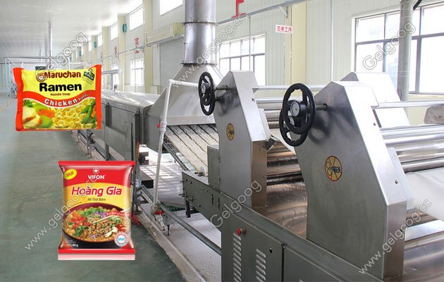instant noodle making line with bag packing