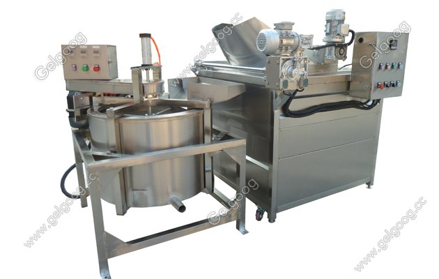 automatic pellet fryer machine with automatic discharging