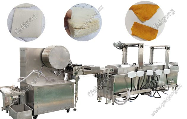 Wonton Wrapper Spring Roll Skin Making And Frying Machine